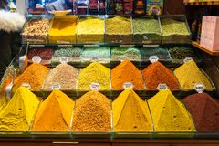 Multi kinds of spices and fragrant ingredients sold in the famous Spice Bazaar in Istanbul. Spice Bazaar in Istanbul so famous for selling multi kinds of spices royalty free stock image