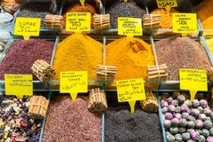 Multi kinds of spices and fragrant ingredients sold in the famous Spice Bazaar in Istanbul. Spice Bazaar in Istanbul so famous for selling multi kinds of spices stock photo