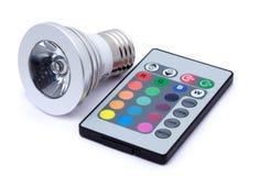 Multi kleuren LEIDENE gloeilamp en afstandsbediening Royalty-vrije Stock Afbeeldingen