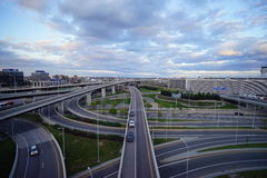 Multi-lane highway in a big city Royalty Free Stock Images