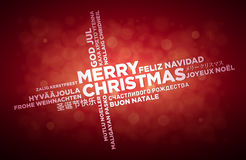 Multi Language Christmas Greeting Design. Multi language Merry Christmas typographic design Stock Image