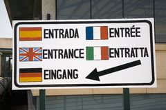 Multi-language sign in Europe saying Entrance in Spanish, English, Italian, German and French Stock Image