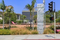 The multi language welcome sign at the famous Grand Park. Of Los Angeles royalty free stock photos