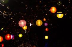 Multi lanterne cinesi colorate Immagini Stock