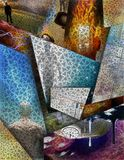 Multi Layered abstract. Composition. Human elements were created with 3D software and are not from any actual human likenesses Stock Photo