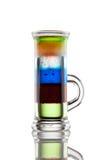 Multi-layered alcohol shot isolatet on white Royalty Free Stock Photography