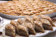 Multi layered Baklava. Close up of dish of  Baklava on a table Stock Image