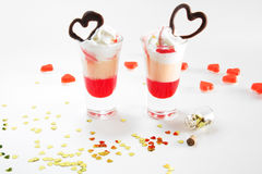 Multi-layered cocktail shot, close-up. Saint valentine`s day. Royalty Free Stock Image