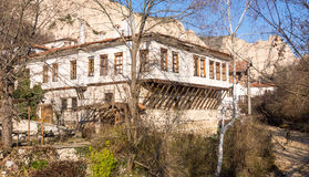 Multi-level building in the mountain town of Melnik in Bulgaria Royalty Free Stock Photo