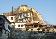 Multi-level building in the mountain town of Melnik in Bulgaria Royalty Free Stock Images