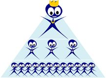 Multi level marketing. Illustration of pyramid scheme with different blue men Royalty Free Stock Photo