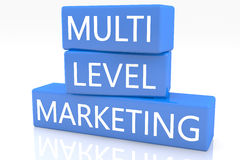 Multi Level Marketing. 3d render blue box with text Multi Level Marketing on it on white background with reflection Stock Photography