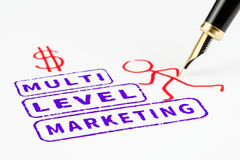 Multi level marketing stamps that represents climbing to success, mlm concept. Concept of multi-level marketing, macro shot of a drawing Stock Photo