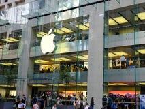 Apple Flagship Store, George Street Sydney, Australia. The multi level modern Apple flagship store or shop in George Street, Sydney central business district Stock Image