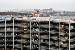 multi-Level Parking for cars with modern fire fighting Stock Photos