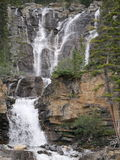 Multi-level Waterfall in Jasper National Park. With multiple streams of water running down the face of the mountain stock photos