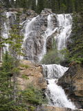 Multi-level Waterfall in Jasper National Park. With multiple streams of water running down the face of the mountain royalty free stock photo