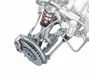 Multi link front car suspension, with brake. Perspective view. Photorealistic 3 D rendering, with morphing effect to sketch hand drawing Royalty Free Stock Photo