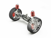 Multi link front car suspension, with brakes and wheels. Multi link front car suspension, brakes and wheels, with ghost effect. On white background. Clipping Royalty Free Stock Photos