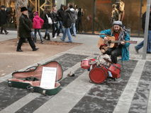 Multi-músico na rua de Dresden, Alemanha Fotos de Stock