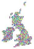 Multi mappa colorata di Dot Great Britain And Ireland illustrazione vettoriale