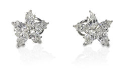 Multi Marquise Diamond stud earrings Royalty Free Stock Photos