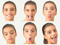 Multi Mädchen des jungen jugendlich der Gesichter Stockfotografie