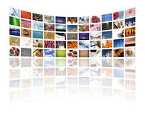 Multi media. Screens displaying images/information on white - All images � Daniel Gilbey Stock Photography
