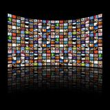 Multi media screens displaying images/information royalty free stock image