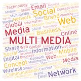 Multi Media word cloud. Word cloud made with text only stock illustration