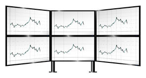Multi-monitor trading with candlestick charts Stock Image