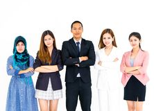 Multi national diverse business team arm crossed isolated stock photos