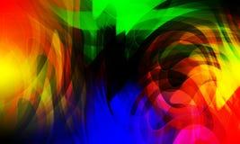 Multi onda abstrata das cores e fundo curvado, rendi??o 3D imagens de stock