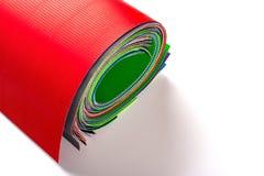 Multi opgerolde kleurenkarton golfdocumenten stock afbeelding