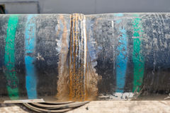 Multi-pass weld bead on the pipe Stock Photography