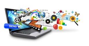 Multi portátil do Internet dos media com objetos Fotografia de Stock Royalty Free