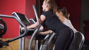 Multi povos étnicos que mantêm o ajuste exercitar no equipamento moderno do gym Ostenta mulheres bonitas no gym O jogo do instrut video estoque