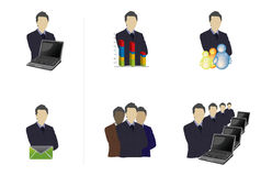 Multi Professionals. A professional depicting various roles with appropriate symbols stock illustration