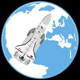 Multi-purpose aerospace system Buran. On the background of the Earth. The illustration on a white background Royalty Free Stock Photography