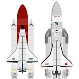 Multi-purpose aerospace system. Buran and Space Shuttle. The illustration on a white background Royalty Free Stock Image