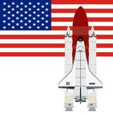 Multi-purpose aerospace system Space Shuttle. Against the background of the American flag. The illustration on a white background Stock Photos