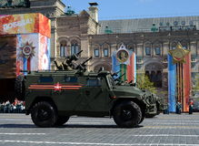 Multi-purpose armored cars `Tiger-M` at the dress rehearsal of parade on red square in honor of Victory Day. Royalty Free Stock Photo