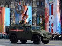 Multi-purpose armored cars `Tiger-M` at the dress rehearsal of parade on red square in honor of Victory Day. Stock Images