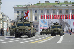 Multi-purpose armored vehicles Tigr on rehearsal of parade in honor of Victory Day. St. Petersburg Royalty Free Stock Images