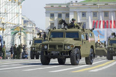 Multi-purpose armoured vehicle `Tigr` on rehearsal of parade in honor of Victory Day in St. Petersburg Stock Image