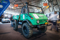 Multi-purpose auto four-wheel drive medium truck produced by Mercedes-Benz, Unimog U600, 1980. Stock Photos