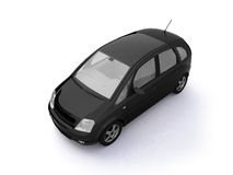 Multi-purpose black car top view. Realistic 3d illustration of an isolated car on white background. For more colors and views of same car please check my Stock Photos