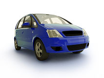 Multi-purpose blue car. 3d realistic car illustration on white background with shadow Royalty Free Stock Photo