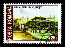 Multi-purpose hall Unirea, Bucharest, Historic Sites, Bucharest. MOSCOW, RUSSIA - NOVEMBER 25, 2017: A stamp printed in Romania shows Multi-purpose hall Unirea Stock Images