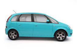 Multi-purpose light blue car side view. Hatchback car illustration on white background with shadow. For more colors and views of this car please check my Royalty Free Stock Images